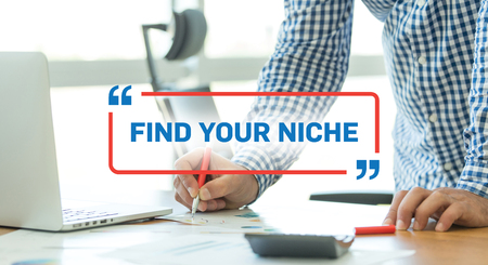 niche: BUSINESS WORKING OFFICE BUSINESSMAN FIND YOUR NICHE CONCEPT Stock Photo
