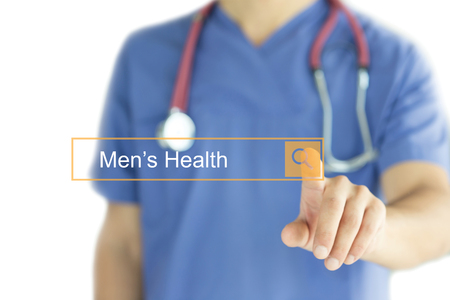 DOCTOR WORKING MODERN INTERFACE TOUCHSCREEN SEARCHING AND MENS HEALTH  CONCEPT