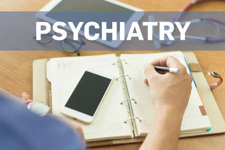 psychiatry: MEDICAL DOCTOR WORKING OFFICE AND PSYCHIATRY CONCEPT