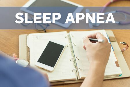apnea: MEDICAL DOCTOR WORKING OFFICE AND SLEEP APNEA CONCEPT