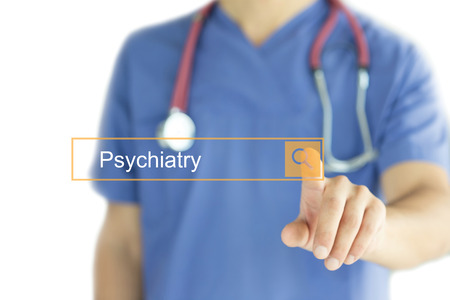 psychiatry: DOCTOR WORKING MODERN INTERFACE TOUCHSCREEN SEARCHING AND PSYCHIATRY  CONCEPT Stock Photo