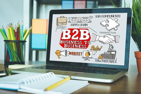 b2b: concepto de B2B en una pantalla Foto de archivo