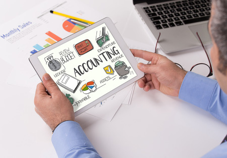 ACCOUNTING Concept on Tablet PC Screen Stock Photo