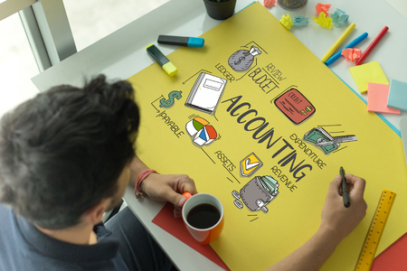 BUSINESS WORKING OFFICE AND DRAWING ACCOUNTING CONCEPT