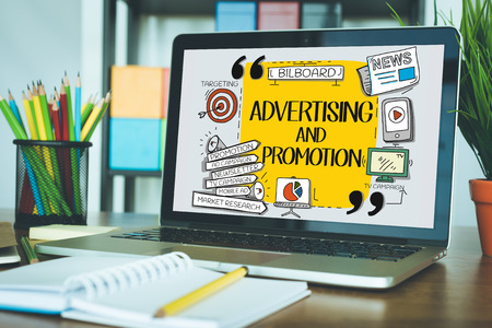 ADVERTISING AND PROMOTION concept on a screen