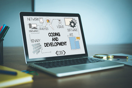 framework: CODING AND DEVELOPMENT concept on a screen
