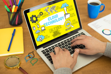 syncing: CLOUD TECHNOLOGY concept on a screen