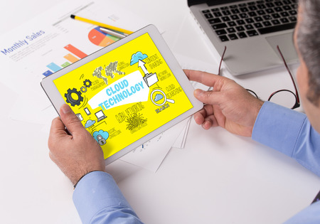 syncing: CLOUD TECHNOLOGY Concept on Tablet PC Screen Stock Photo