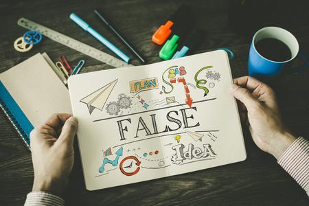 falso: bosquejo falsa en el cuaderno Foto de archivo