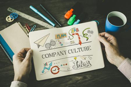bosquejo Cultura de la empresa en el cuaderno