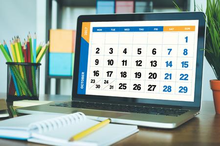 calendario octubre: 2017 Year OCTOBER Calendar Concept Foto de archivo