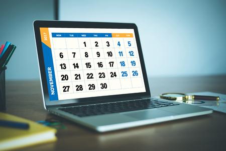 calendario noviembre: A�o 2017 Concepto Noviembre Calendario Foto de archivo