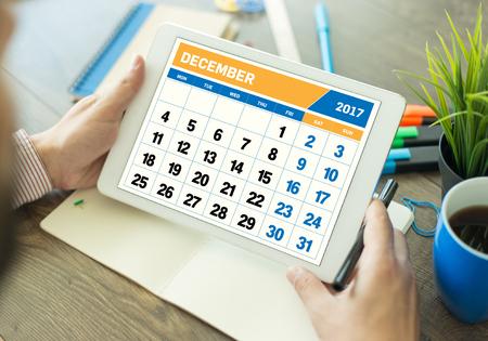 december: 2017 Year DECEMBER Calendar Concept Stock Photo