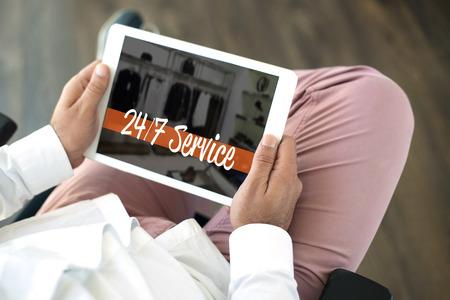 24x7: 247 SERVICE CONCEPT Stock Photo