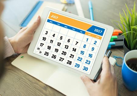 calendario julio: Año 2017 Concepto Julio Calendario Foto de archivo