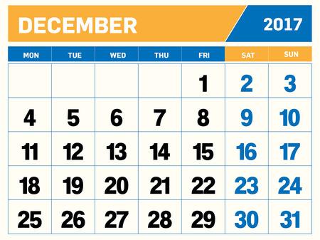 december: DECEMBER 2017 CALENDAR Illustration