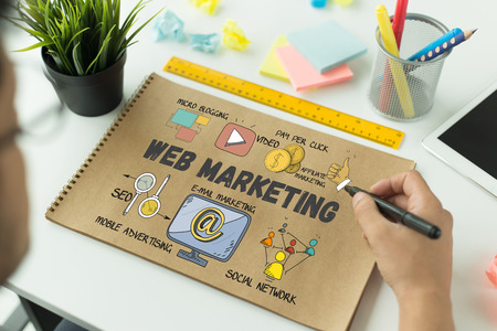 BUSINESS communicatietechnologie en WEB MARKETING CONCEPT Stockfoto