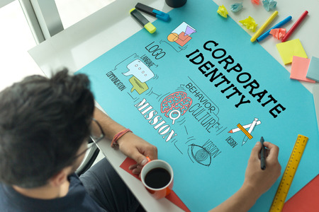 BRAND Business Marketing en huisstijl CONCEPT Stockfoto