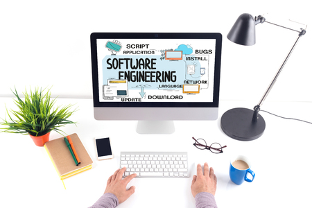 programmers: TECHNOLOGY INTERNET SYSTEM AND SOFTWARE ENGINEERING CONCEPT Stock Photo