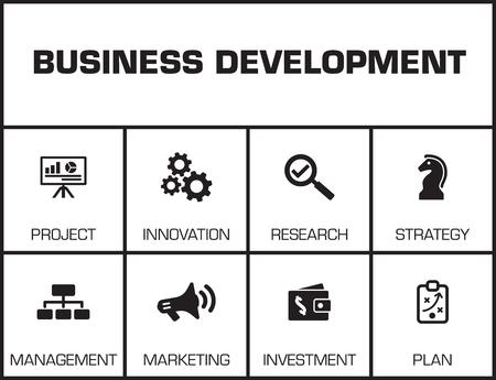Développement des affaires. Graphique avec des mots-clés et des icônes sur fond jaune