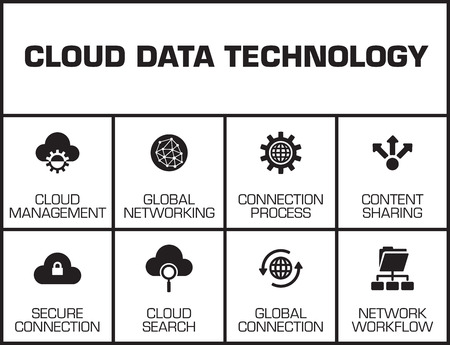 syncing: Cloud Data Technology chart with keywords and icons Illustration