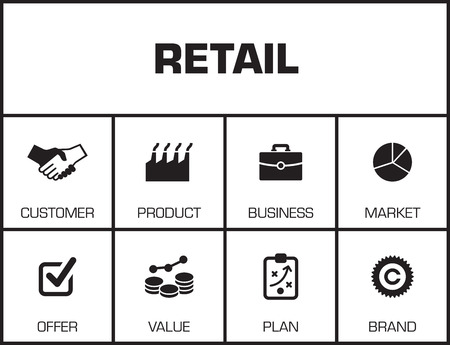 finance department: Retail. Chart with keywords and icons on yellow background Illustration