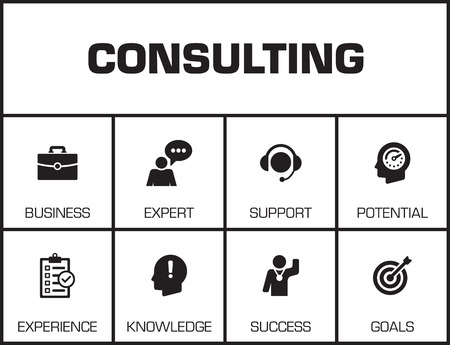 keywords background: Consulting. Chart with keywords and icons on yellow background