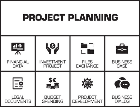 project planning: Project Planning chart with keywords and icons