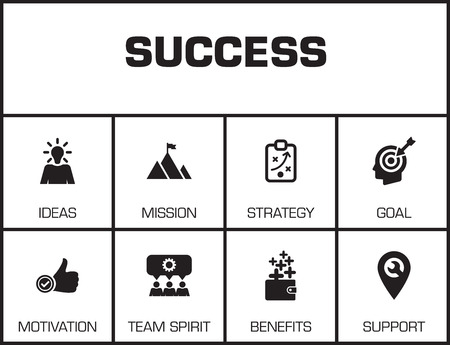 keywords background: Success. Chart with keywords and icons on yellow background