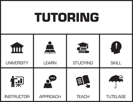 edification: Tutoring. Chart with keywords and icons on yellow background