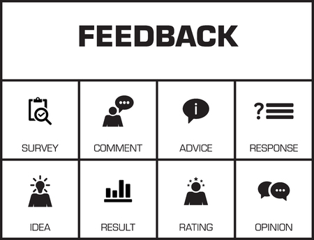 keywords background: Feedback. Chart with keywords and icons on yellow background Illustration