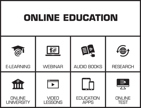 keywords: Online Education Chart with keywords and icons