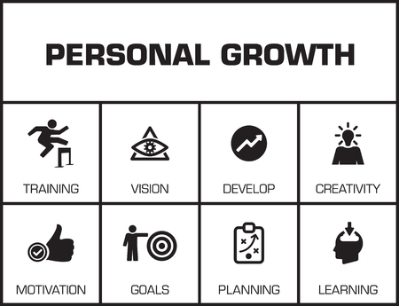 keywords background: Personal Growth. Chart with keywords and icons on yellow background