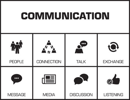 keywords background: Communication. Chart with keywords and icons on yellow background