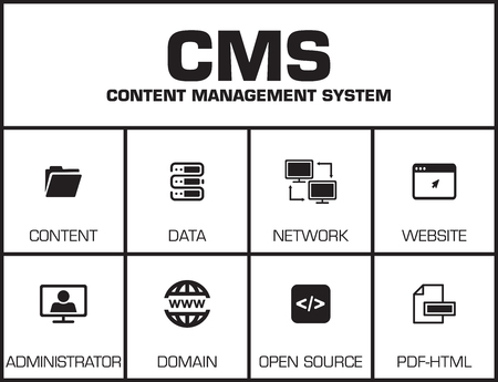 backlink: CMS Content Management System. Chart with keywords and icons on yellow background