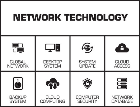 Network Technology chart with keywords and icons