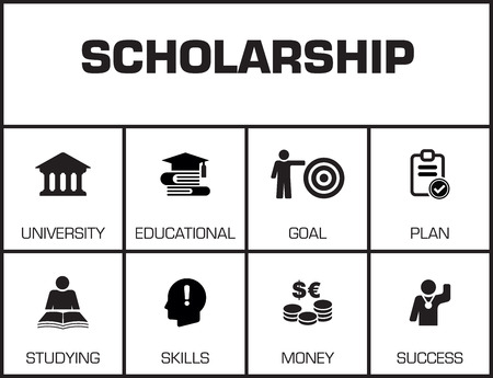 scholarship: Scholarship. Chart with keywords and icons on yellow background Illustration