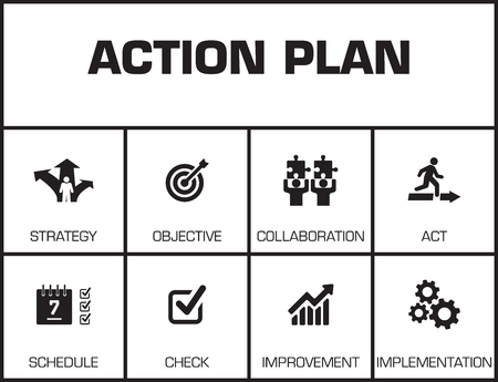 keywords background: Action Plan. Chart with keywords and icons on yellow background Illustration