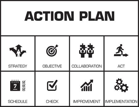 Plan d'action. Graphique avec des mots clés et des icônes sur fond jaune Vecteurs