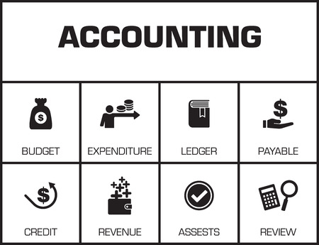 Accounting. Chart with keywords and icons on yellow background