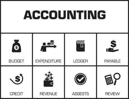 Accounting. Grafiek met zoekwoorden en pictogrammen op gele achtergrond