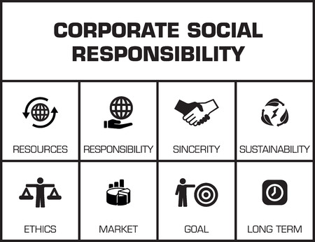 long term goal: Corporate Social Responsibility. Chart with keywords and icons on yellow background