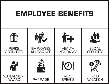 Werknemersvoordelen. Grafiek met zoekwoorden en pictogrammen op gele achtergrond Stock Illustratie
