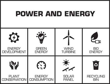 biosphere: Power and Energy chart with keywords and icons