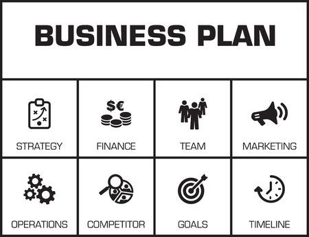 Plan d'affaires Graphique avec des mots-clés et des icônes sur fond jaune Vecteurs