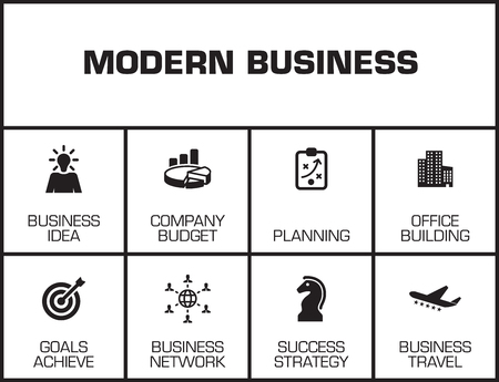 tactics: Modern Business chart with keywords and icons