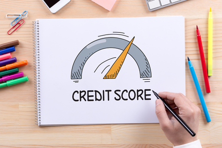 customer records: CREDIT SCORE CONCEPT Stock Photo