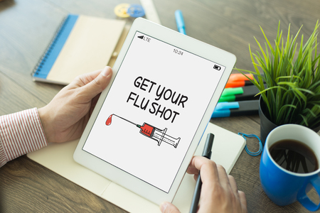 swine flu vaccine: GET YOUR FLU SHOT CONCEPT