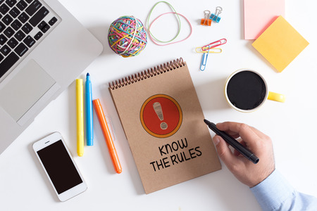 know: KNOW THE RULES! CONCEPT Stock Photo
