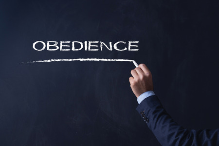 obediencia: Empresario por escrito en la pizarra OBEDIENCIA